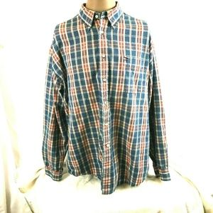 Tommy Hilfiger Mens Blue Red Plaid Shirt XL